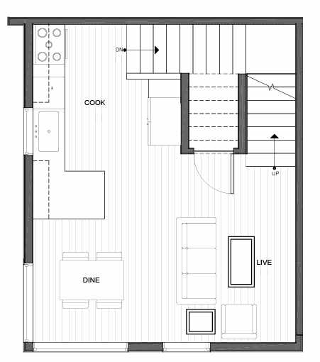 Second Floor Plan of 14335A Stone Ave N, One of the Maya Townhomes in Haller Lake