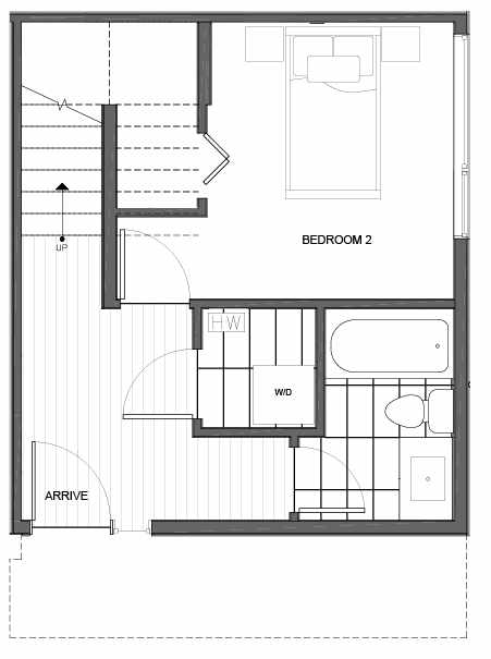 First Floor Plan of 14335B Stone Ave N, One of the Maya Townhomes in Haller Lake