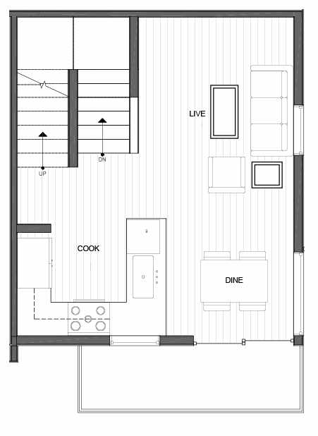 Second Floor Plan of 14335B Stone Ave N, One of the Maya Townhomes in Haller Lake