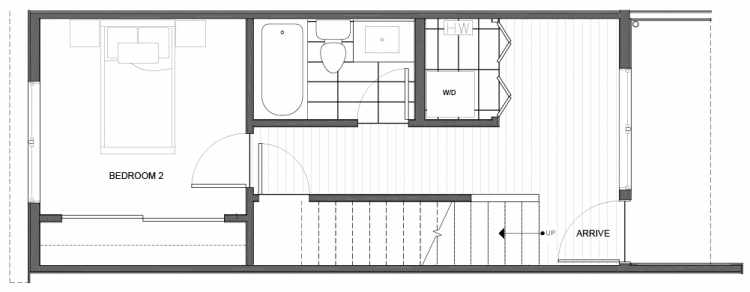 First Floor Plan of 14335C Stone Ave N, One of the Maya Townhomes in Haller Lake