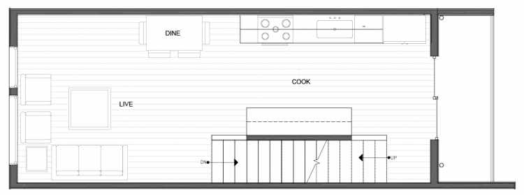 Second Floor Plan of 14335C Stone Ave N, One of the Maya Townhomes in Haller Lake
