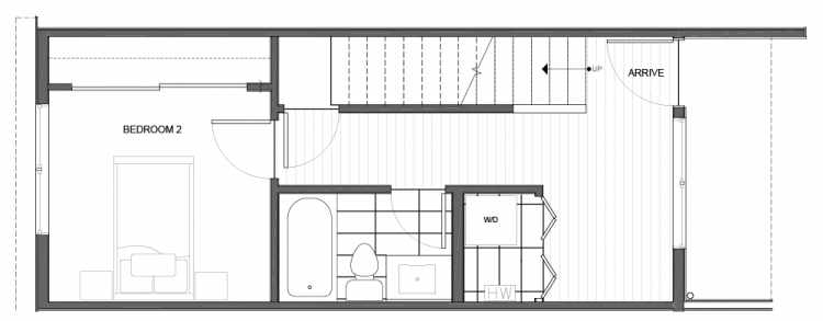 First Floor Plan of 14335D Stone Ave N, One of the Maya Townhomes in Haller Lake