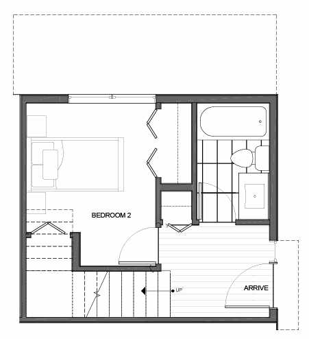 First Floor Plan of 14335E Stone Ave N, One of the Maya Townhomes in Haller Lake