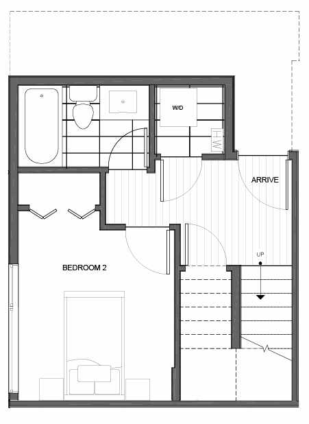 First Floor Plan of 14335F Stone Ave N, One of the Maya Townhomes in Haller Lake