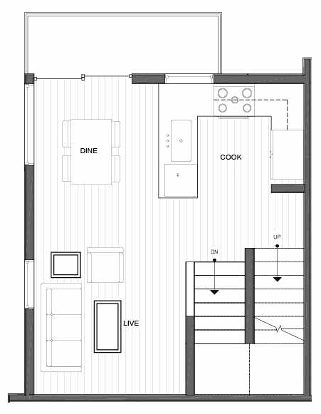 Second Floor Plan of 14335F Stone Ave N, One of the Maya Townhomes in Haller Lake