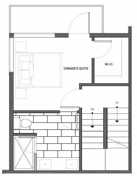 Third Floor Plan of 14335F Stone Ave N, One of the Maya Townhomes in Haller Lake
