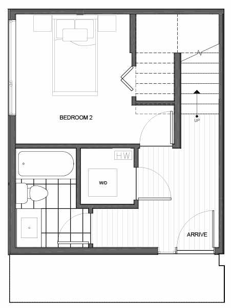 First Floor Plan of 14339A Stone Ave N, One of the Maya Townhomes in Haller Lake