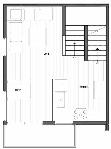 Second Floor Plan of 14339A Stone Ave N, One of the Maya Townhomes in Haller Lake