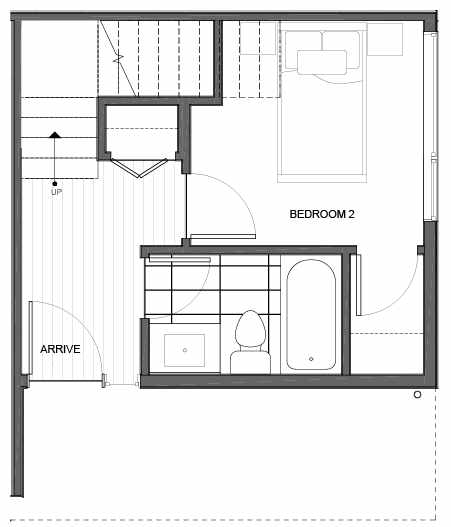 First Floor Plan of 14339B Stone Ave N, One of the Maya Townhomes in Haller Lake