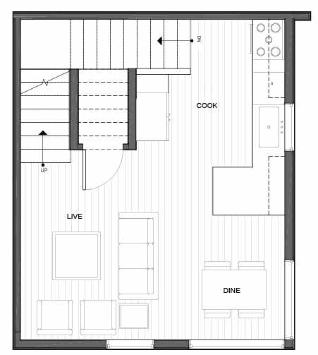 Second Floor Plan of 14339B Stone Ave N, One of the Maya Townhomes in Haller Lake