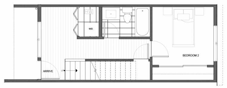 First Floor Plan of 14339C Stone Ave N, One of the Maya Townhomes in Haller Lake