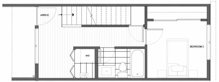 First Floor Plan of 14339D Stone Ave N, One of the Maya Townhomes in Haller Lake