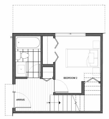 First Floor Plan of 14339E Stone Ave N, One of the Maya Townhomes in Haller Lake