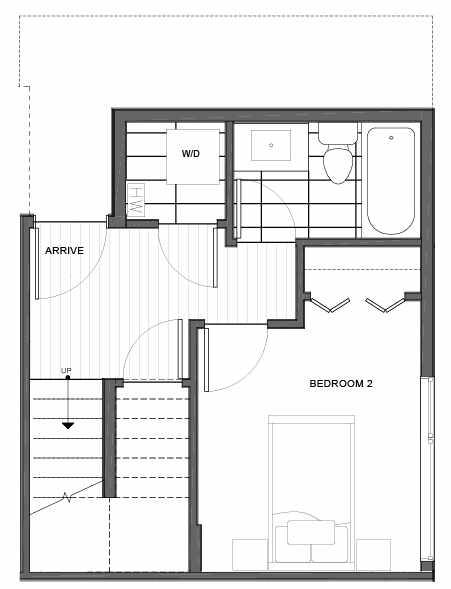 First Floor Plan of 14339F Stone Ave N, One of the Maya Townhomes in Haller Lake