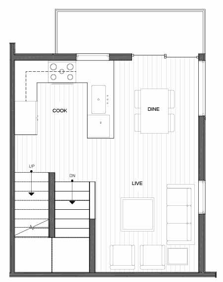 Second Floor Plan of 14339F Stone Ave N, One of the Maya Townhomes in Haller Lake