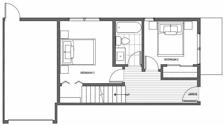 First Floor Plan of 1539A 14th Ave S, Hawk's Nest Townhomes, Located in North Beacon Hill
