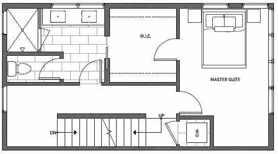 Third Floor Plan of 1539A 14th Ave S, Hawk's Nest Townhomes, Located in North Beacon Hill