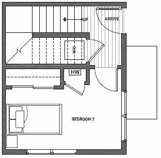 First Floor Plan of 1539B 14th Ave S, Hawk's Nest Townhomes, Located in North Beacon Hill