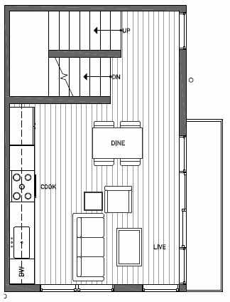 Second Floor Plan of 1539B 14th Ave S, Hawk's Nest Townhomes, Located in North Beacon Hill