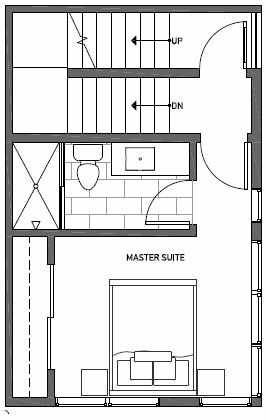 Third Floor Plan of 1539B 14th Ave S, Hawk's Nest Townhomes, Located in North Beacon Hill