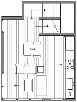 Second Floor Plan of 1539C 14th Ave S, Hawk's Nest Townhomes, Located in North Beacon Hill