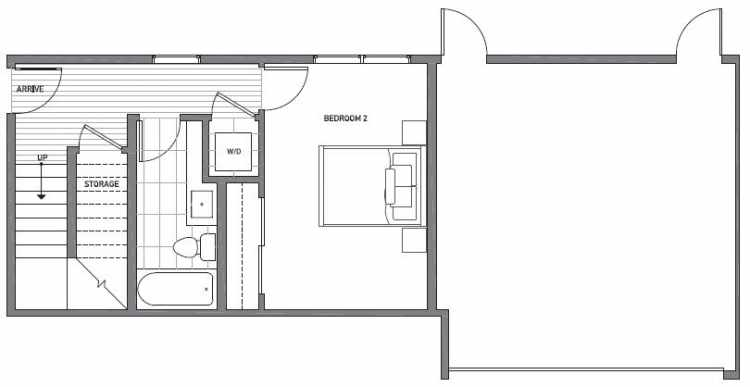 First Floor Plan of 1541A 14th Ave S, Hawk's Nest Townhomes, Located in North Beacon Hill