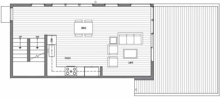Second Floor Plan of 1541A 14th Ave S, Hawk's Nest Townhomes, Located in North Beacon Hill