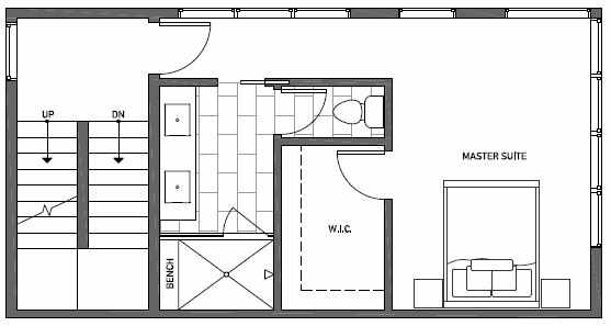 Third Floor Plan of 1541A 14th Ave S, Hawk's Nest Townhomes, Located in North Beacon Hill