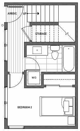 First Floor Plan of 1541B 14th Ave S, Hawk's Nest Townhomes, Located in North Beacon Hill