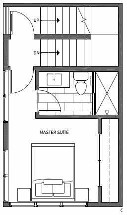 Third Floor Plan of 1541B 14th Ave S, Hawk's Nest Townhomes, Located in North Beacon Hill