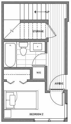 First Floor Plan of 1541C 14th Ave S, Hawk's Nest Townhomes, Located in North Beacon Hill
