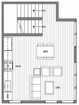 Second Floor Plan of 1541C 14th Ave S, Hawk's Nest Townhomes, Located in North Beacon Hill