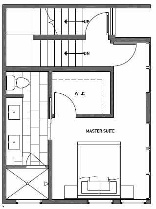 Third Floor Plan of 1541C 14th Ave S, Hawk's Nest Townhomes, Located in North Beacon Hill