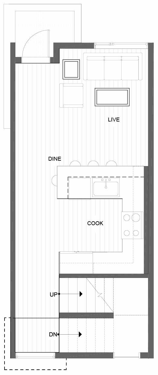 Second Floor Plan of 1606 NW 85th St, One of the Alina Townhomes in Crown Hill