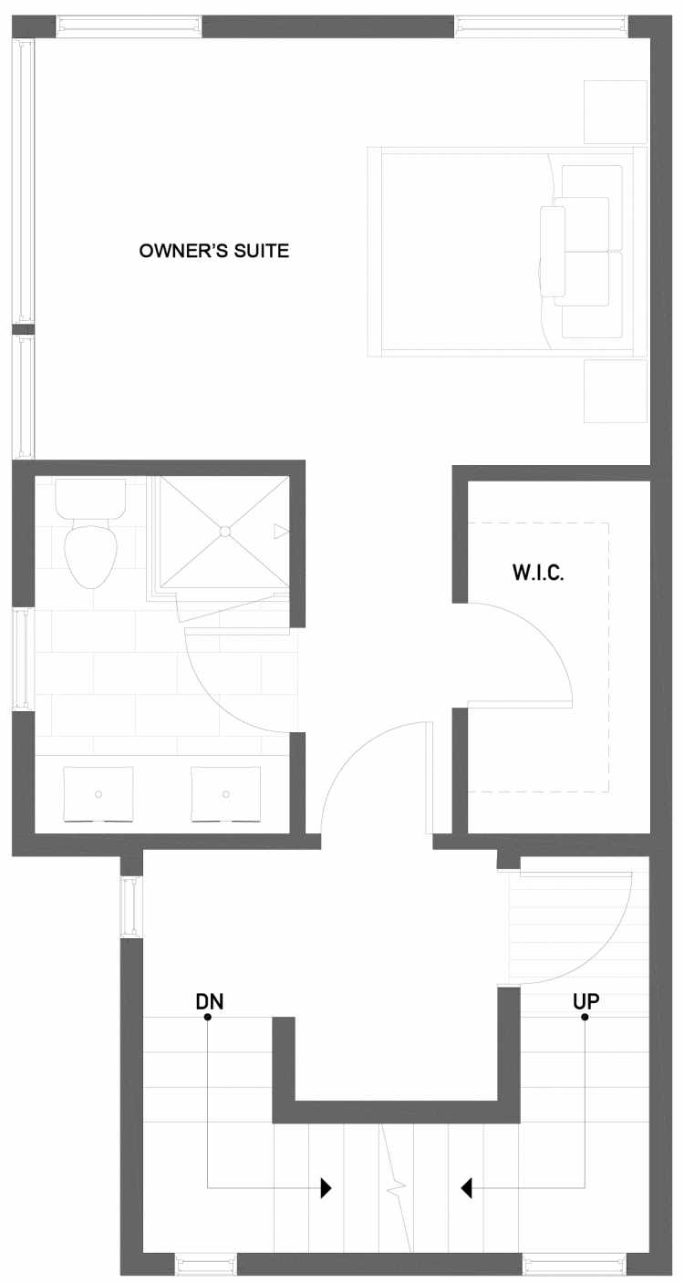 Third Floor Plan of 1724A 11th Avenue in Wyn Tonwhomes, Capitol Hill Seattle