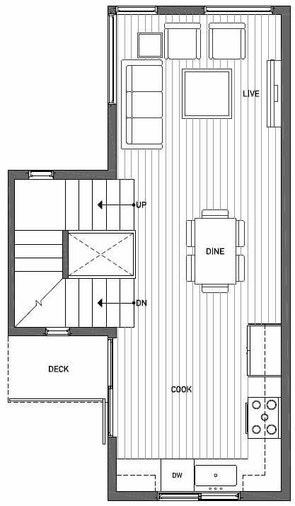 Second Floor Plan of 1724D 11th Avenue in Wyn Tonwhomes, Capitol Hill Seattle