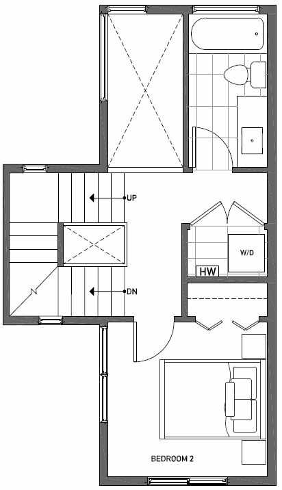 Second Floor Plan of 1724F 11th Avenue in Wyn Tonwhomes, Capitol Hill Seattle