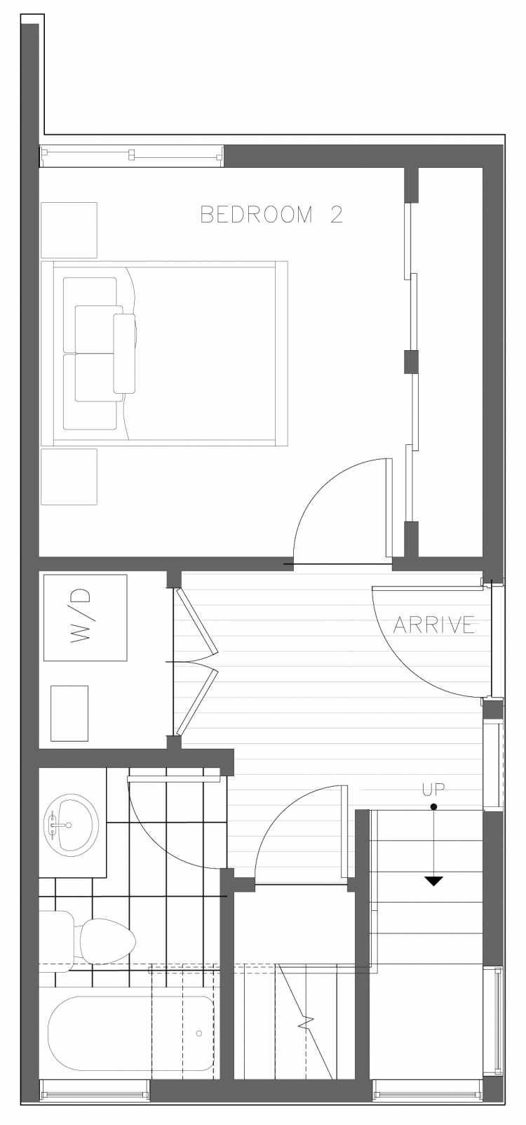 First Floor Plan of 1728A 11th Ave, One of the Altair Townhomes in Capitol Hill by Isola Homes