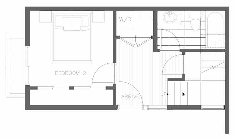First Floor Plan of 1728B 11th Ave, One of the Altair Townhomes in Capitol Hill by Isola Homes