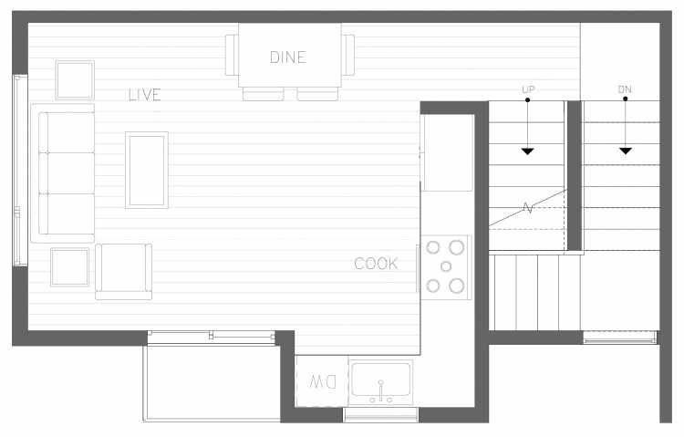 Second Floor Plan of 1728B 11th Ave, One of the Altair Townhomes in Capitol Hill by Isola Homes