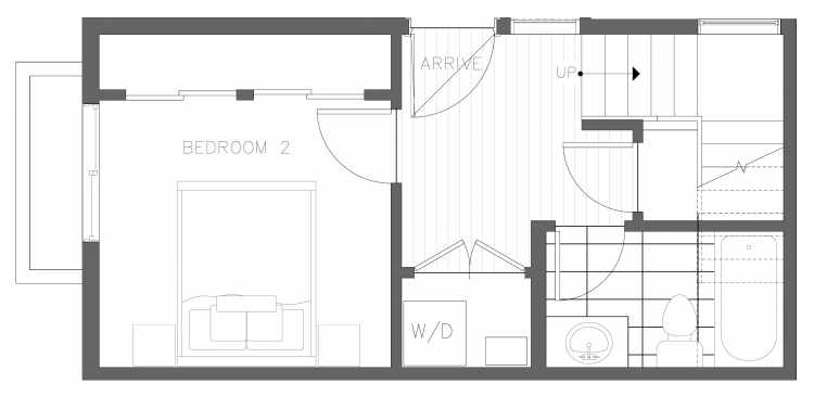 First Floor Plan of 1728C 11th Ave, One of the Altair Townhomes in Capitol Hill by Isola Homes
