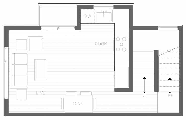 Second Floor Plan of 1728C 11th Ave, One of the Altair Townhomes in Capitol Hill by Isola Homes