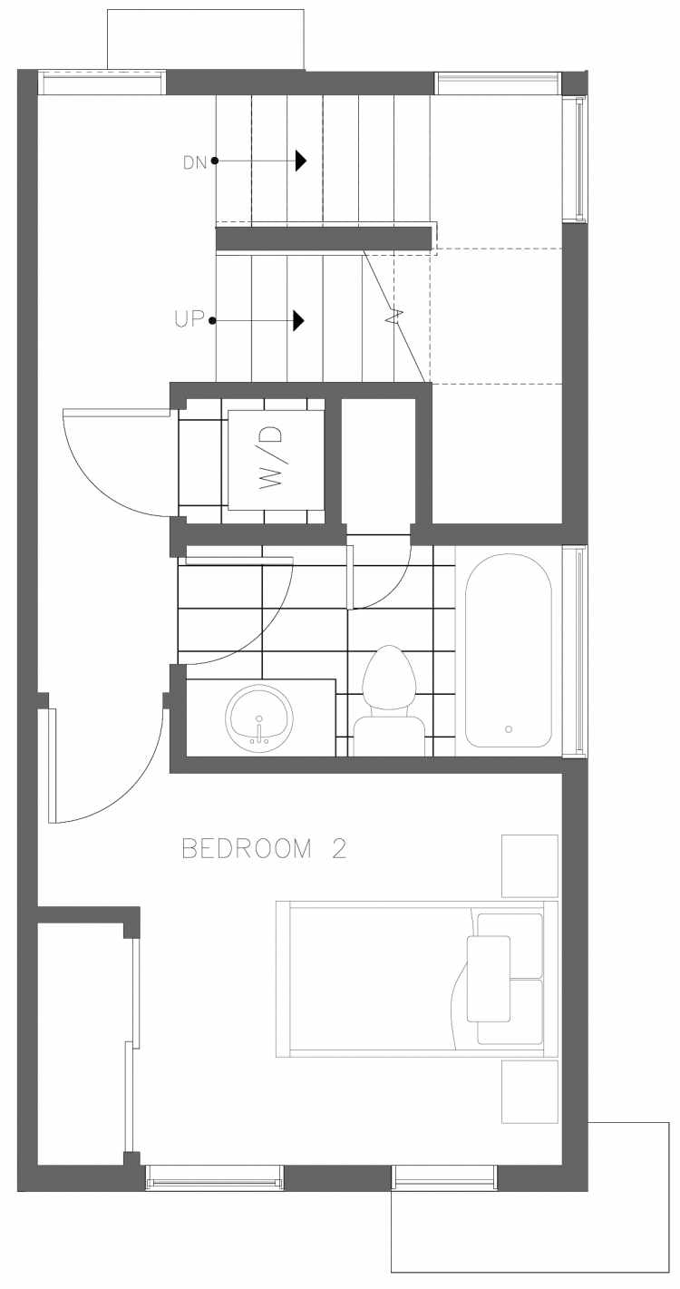 Second Floor Plan of 1730A 11th Ave, One of the Altair Townhomes in Capitol Hill by Isola Homes