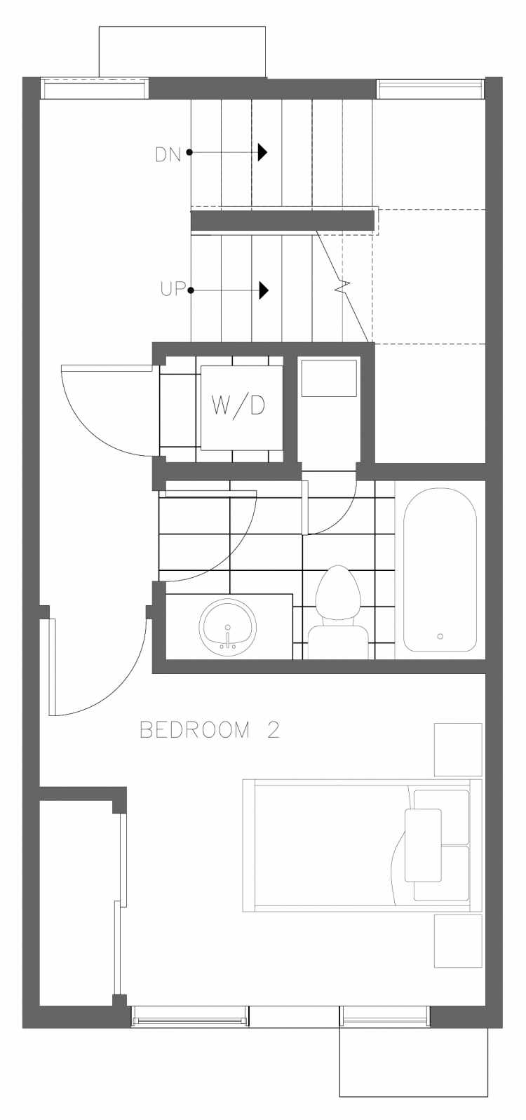 Second Floor Plan of 1730B 11th Ave, One of the Altair Townhomes in Capitol Hill by Isola Homes
