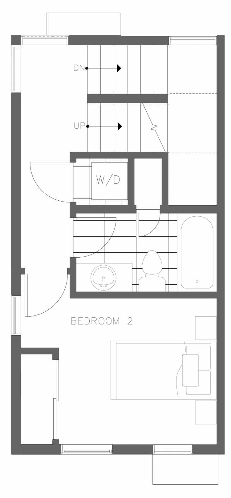 Second Floor Plan of 1730C 11th Ave, One of the Altair Townhomes in Capitol Hill by Isola Homes