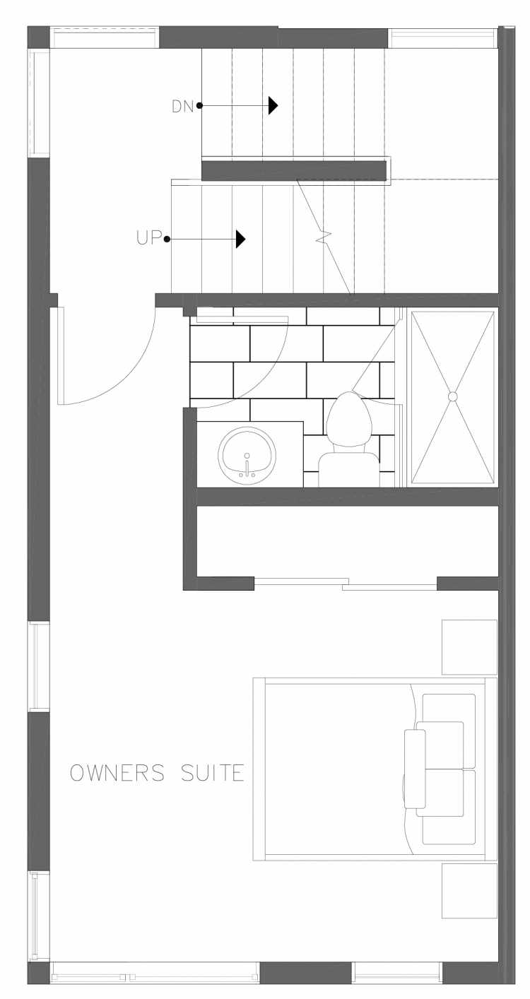 Third Floor Plan of 1730C 11th Ave, One of the Altair Townhomes in Capitol Hill by Isola Homes