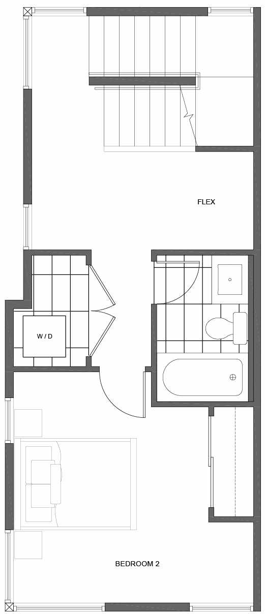 Second Floor Plan of 1802 E Spruce St, in the Opal Rowhomes of the Cabochon Collection
