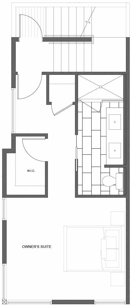 Third Floor Plan of 1802 E Spruce St, in the Opal Rowhomes of the Cabochon Collection
