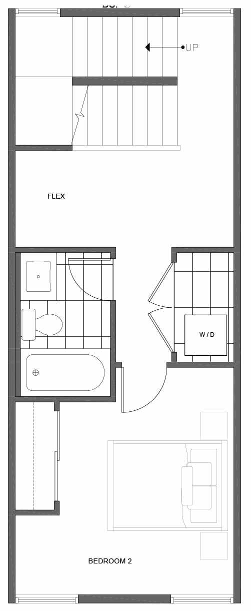 Second Floor Plan of 1804 E Spruce St, in the Opal Rowhomes of the Cabochon Collection