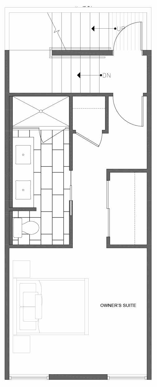 Third Floor Plan of 1804 E Spruce St, in the Opal Rowhomes of the Cabochon Collection